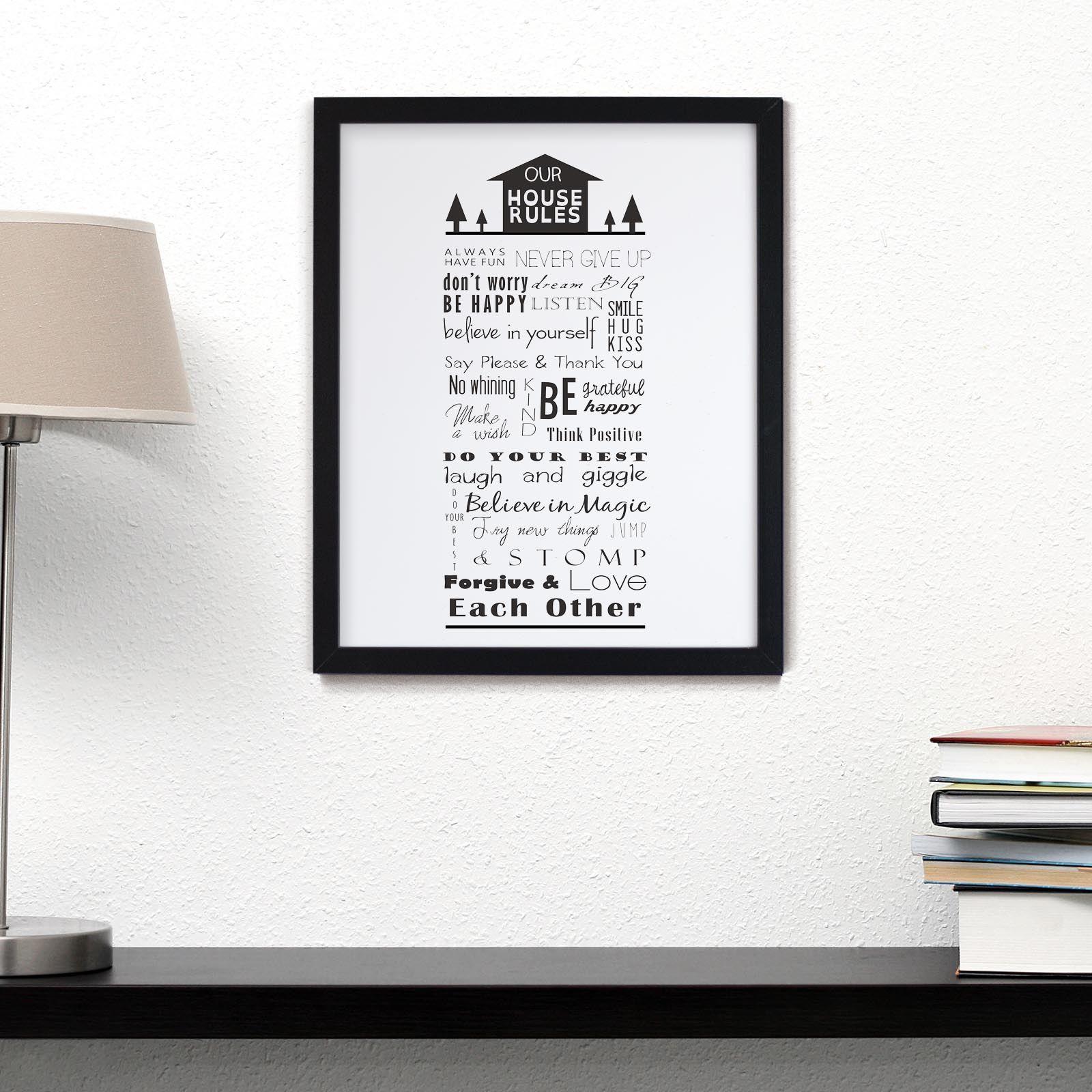 bild bilder mit spr chen rahmen hausregeln wei und schwarz poster ebay. Black Bedroom Furniture Sets. Home Design Ideas