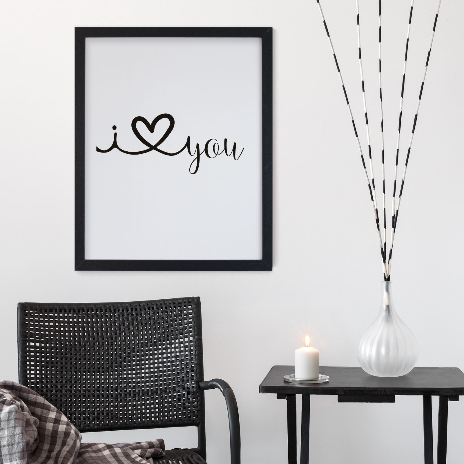 bild poster bilder mit spr chen rahmen i love you ich liebe dich schwarz ebay. Black Bedroom Furniture Sets. Home Design Ideas