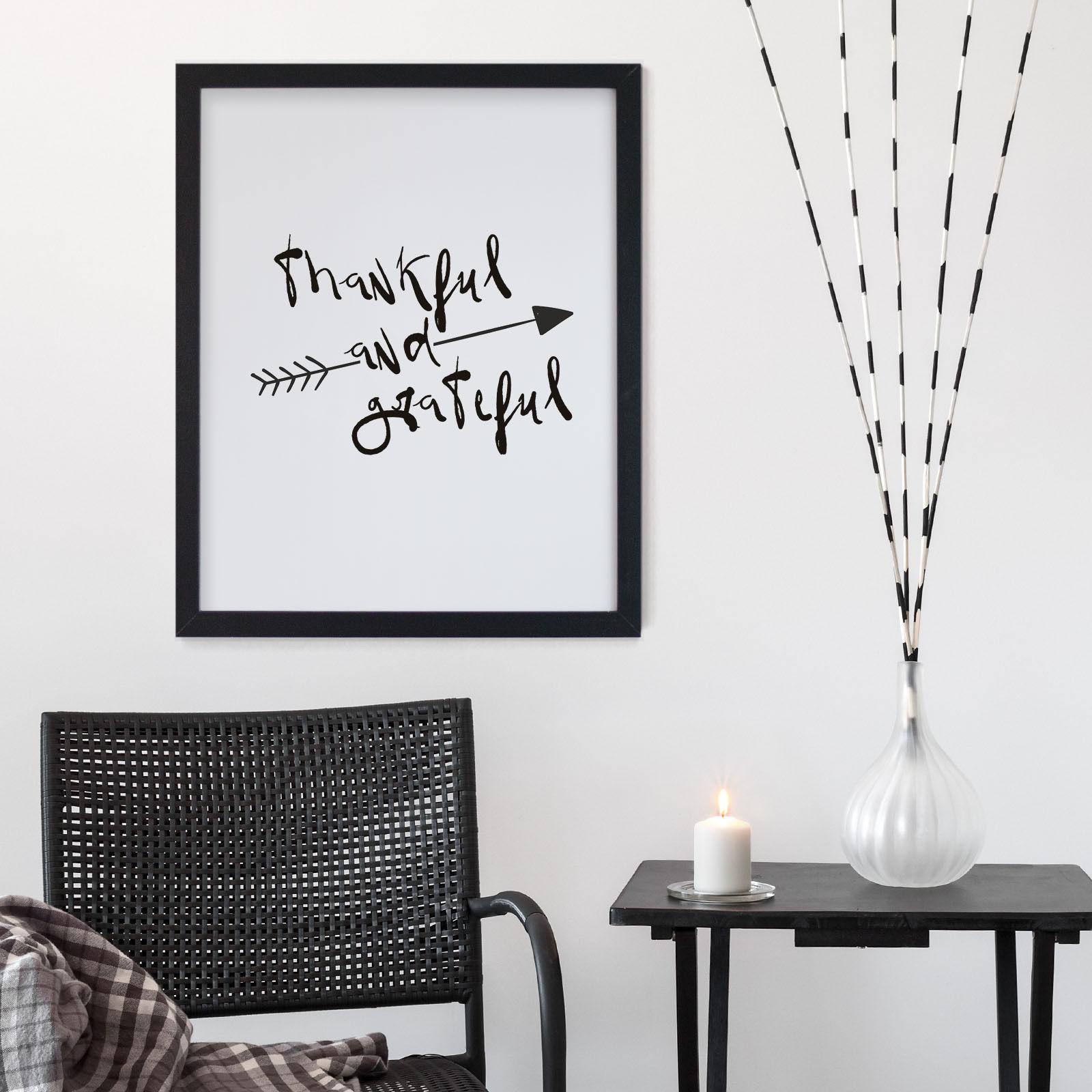 bild bilder mit spr chen rahmen dankbar wei und schwarz poster geschenk ebay