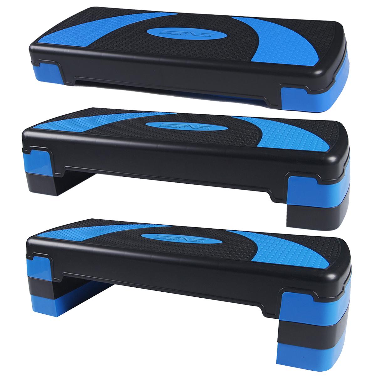 Step do aerobiku 3-stopniowy, czarno-niebieski