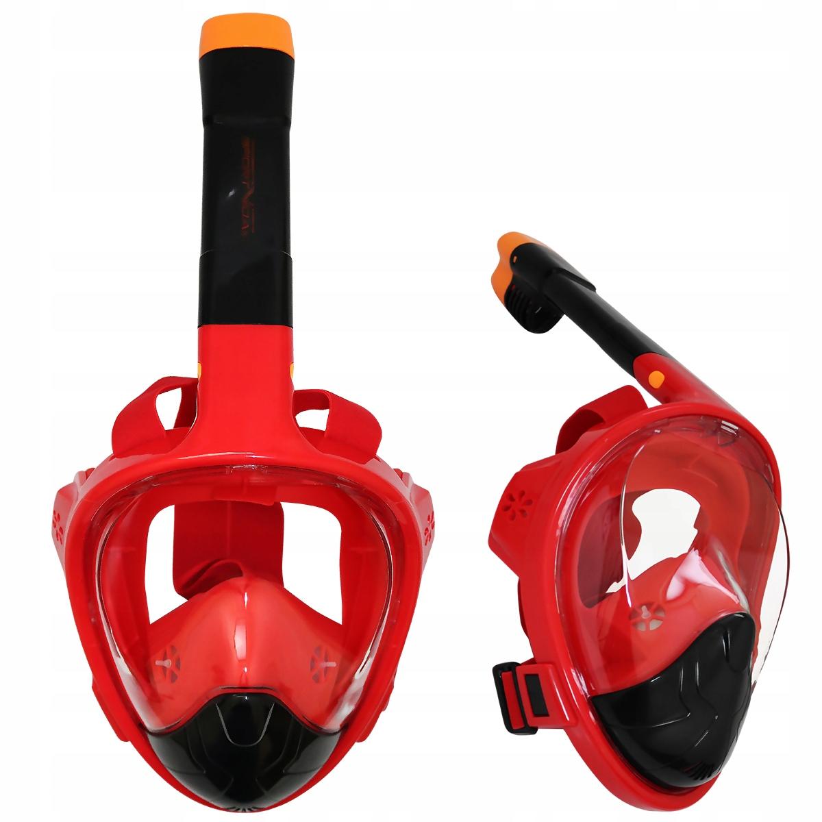 Maska z fajką S/M czarno-czerwona