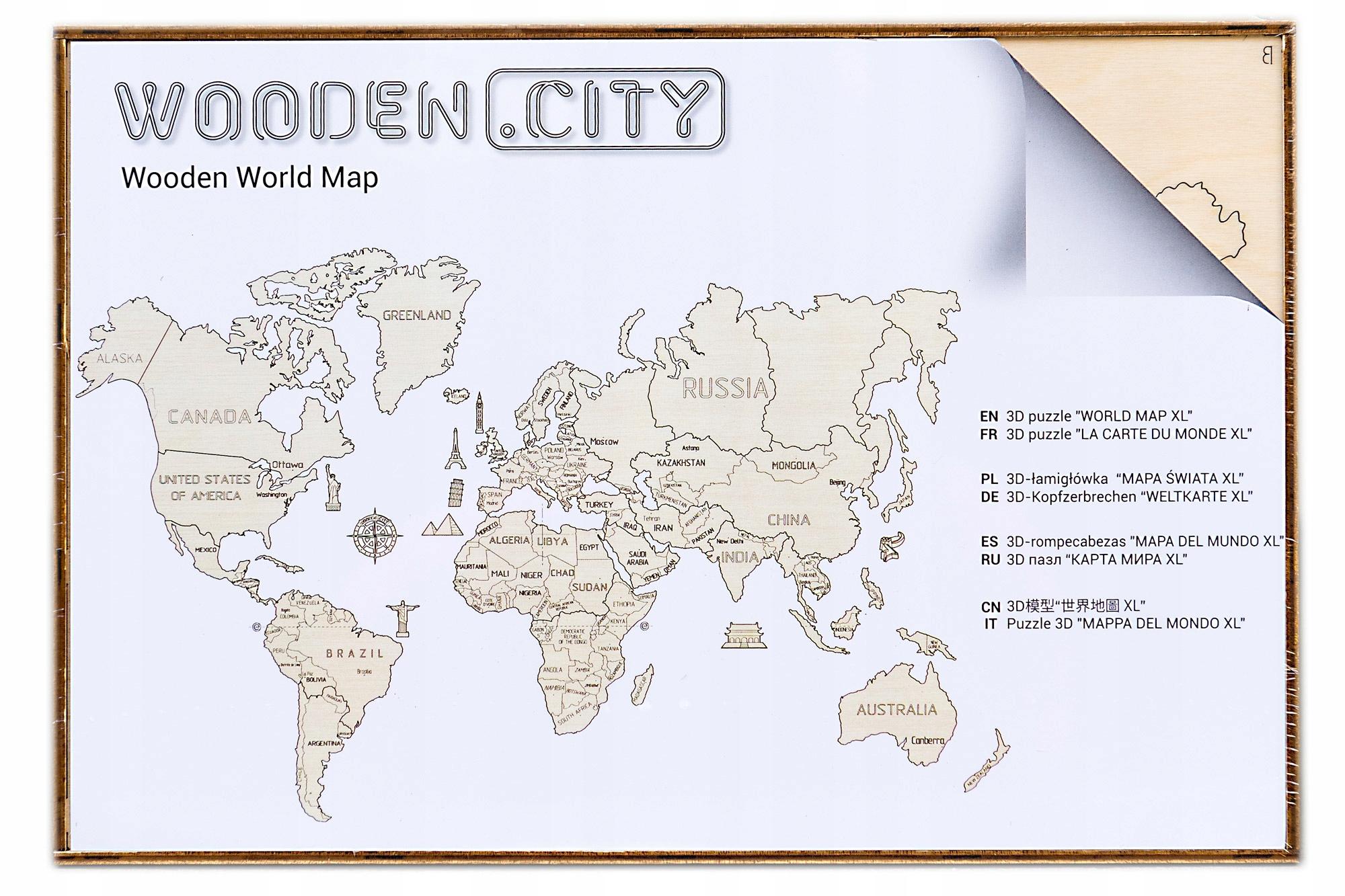 Puzzle 3d Din Lemn Wooden City Harta Lumii Marime L 29 Piese