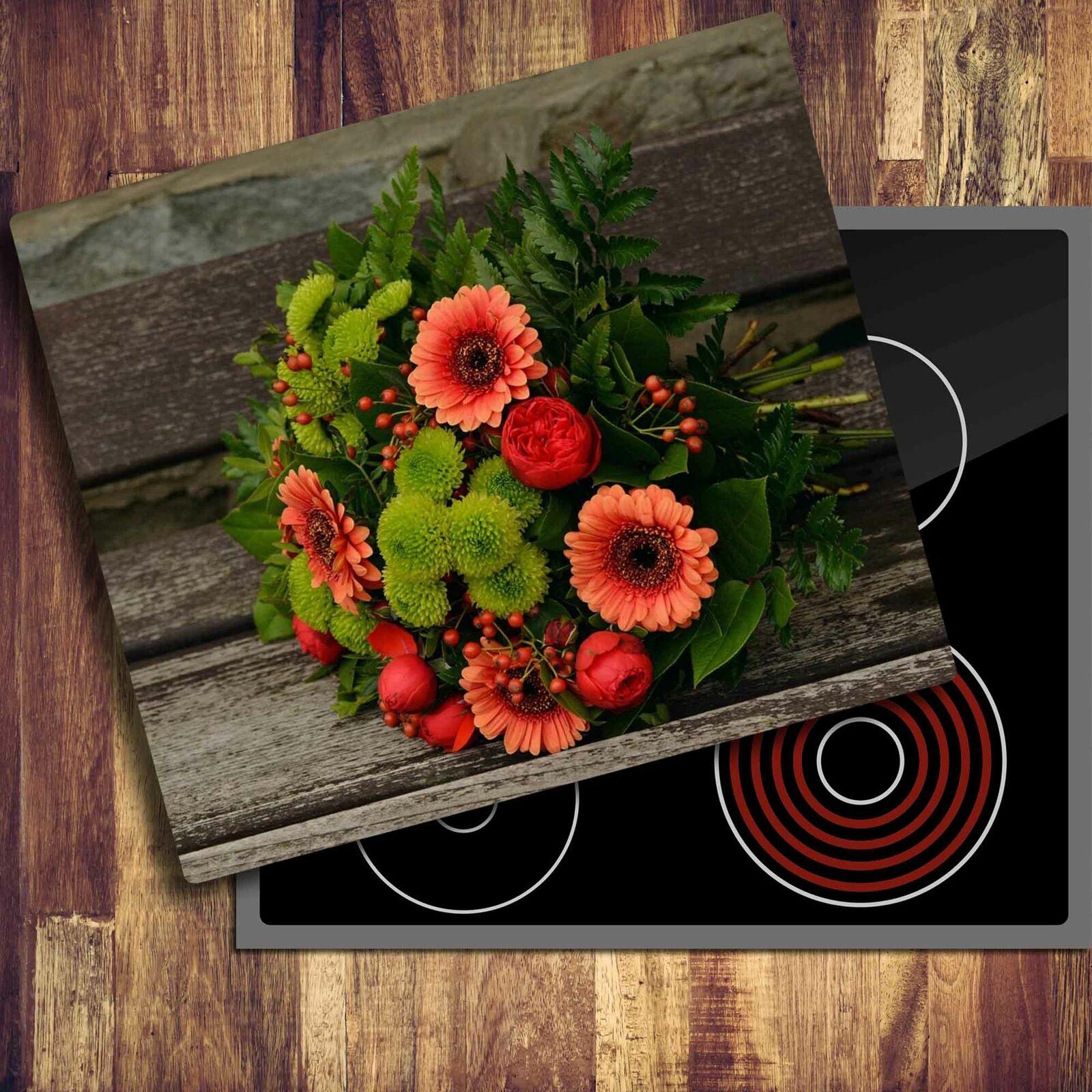 Herdabdeckplatten Ceranfeldabdeckung Spritzschutz 60x52 Blumen Violett Natur