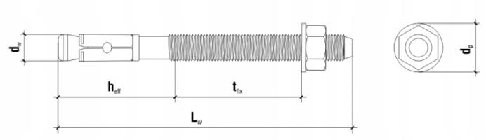 Kotwa mechaniczna do betonu stalowa LE Rysunek Techniczny