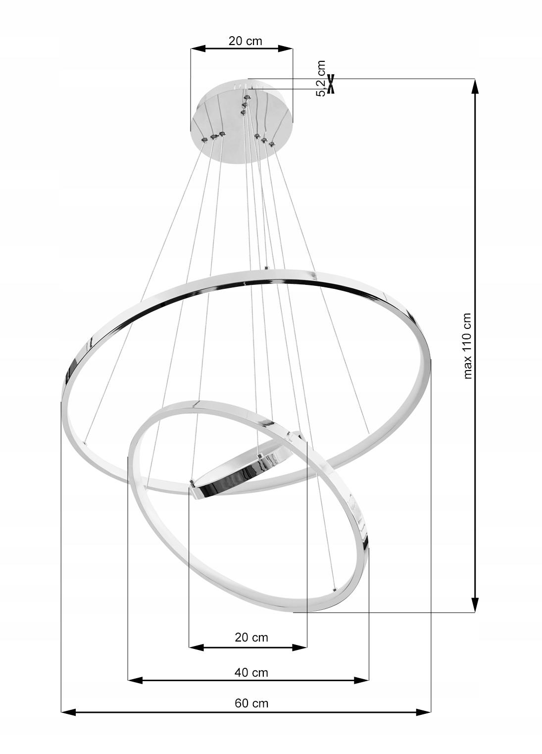 Wobako Silva V ring Led okręgi lampa wisząca 40 + 60 + 80CM