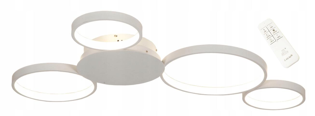 Lampa LED do jadalni biała ring z pilotem Noemia Flat Wobako