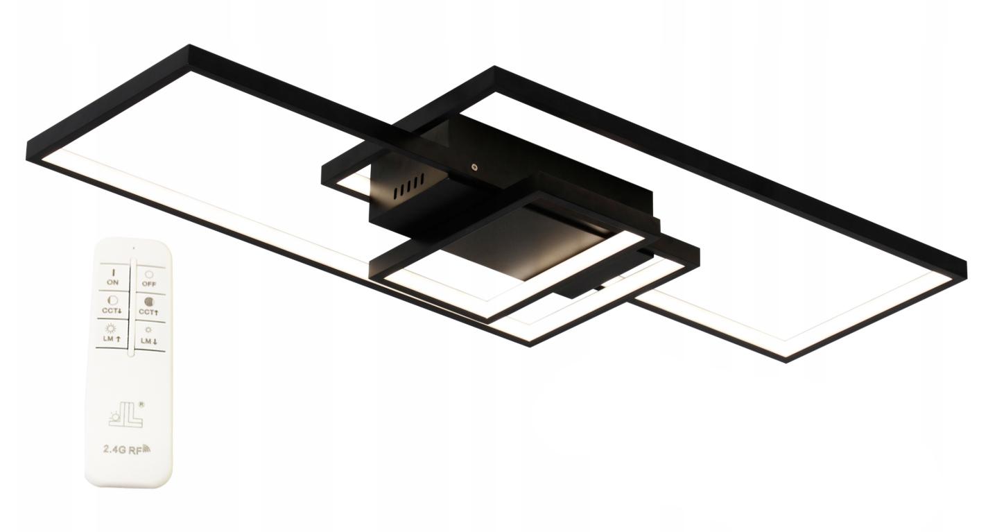Plafon Lalampa LED Fenix Slim I czarny prostokąty wymiar
