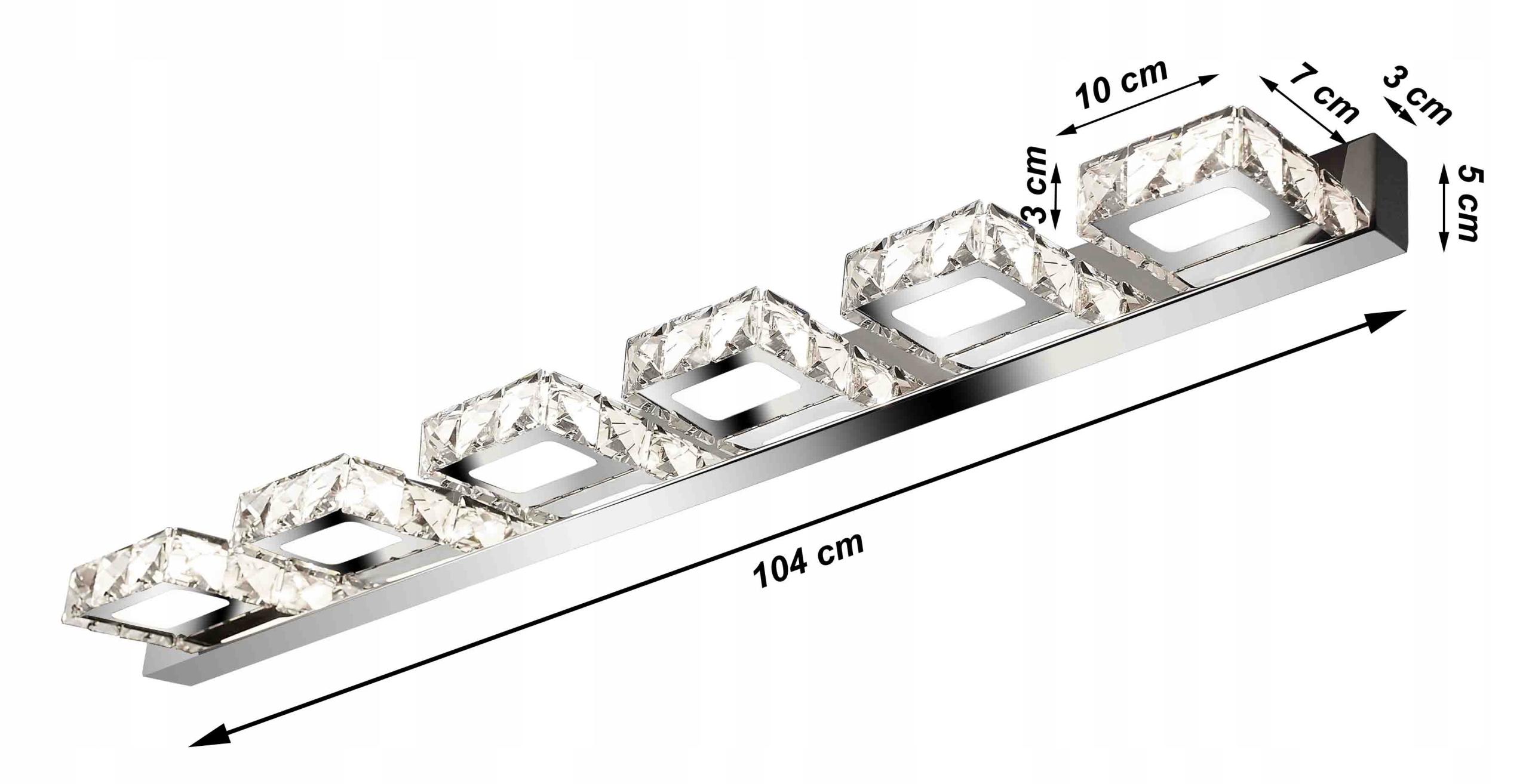 Lampa ścienna, szklane kryształki 104cm - Meteor Line VI