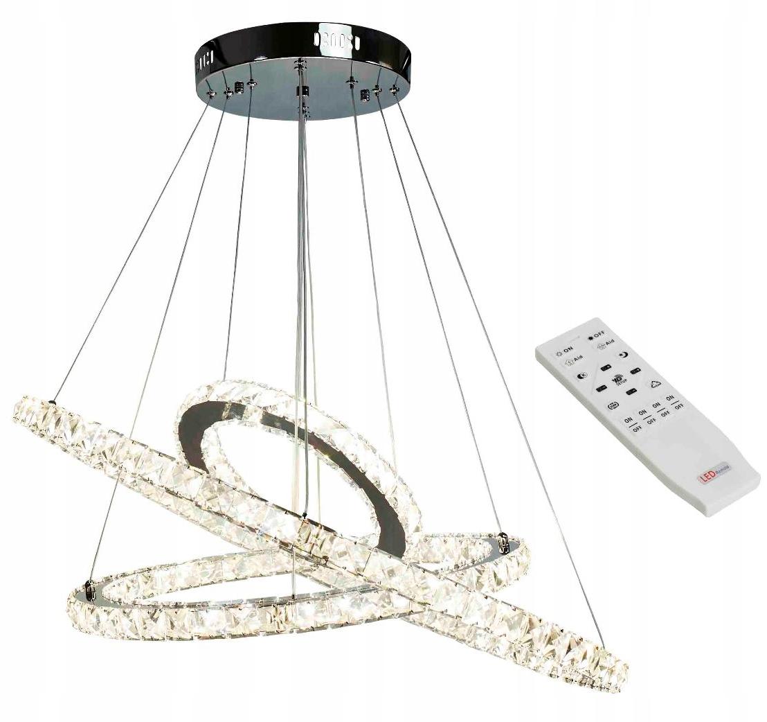 Wisząca lampa Wobako Atena III kryształki z regulacją barwy i natężenia światła za pomocą pilota