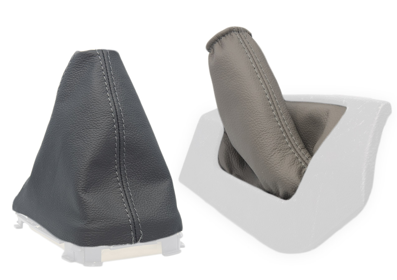 FOR VOLVO S60 04-09 LHD GRAY GEAR SHIFT BOOT /& BEIGE E BRAKE GAITER LEATHER