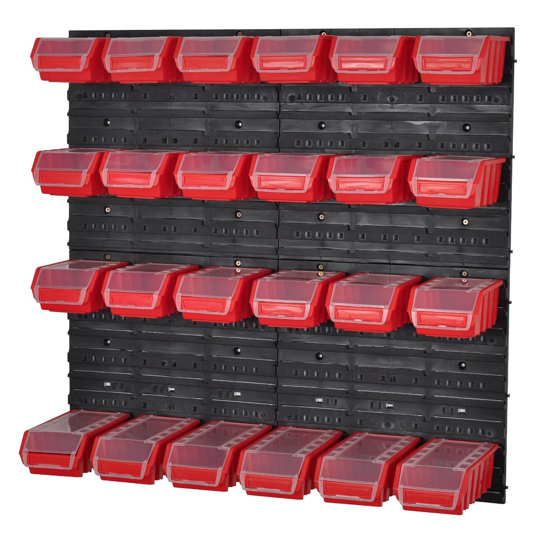 Stapelboxen Werkzeugwand 42 Boxen Montagewand Schwarz