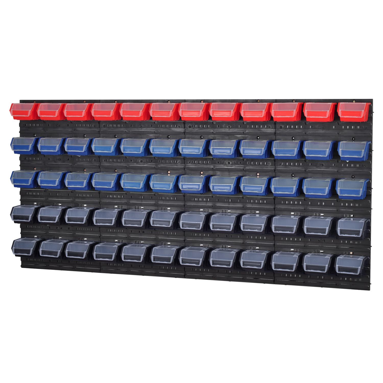 stapelboxen werkzeugwand 60 boxen mit deckel montagewand. Black Bedroom Furniture Sets. Home Design Ideas