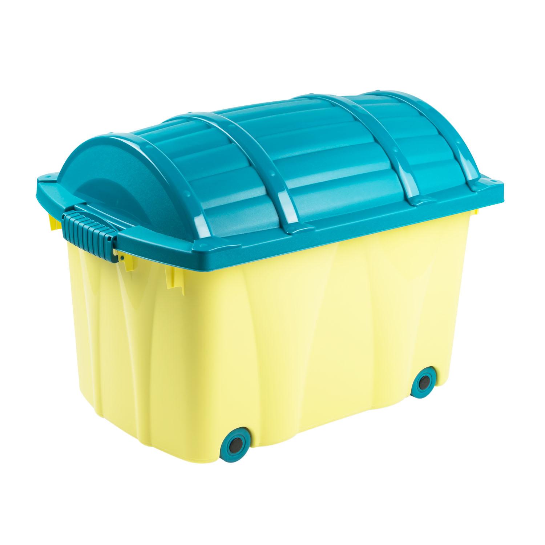 piratenbox korb box mit rollen 49l kiste korb aufbewahrungskorbgelb ebay. Black Bedroom Furniture Sets. Home Design Ideas